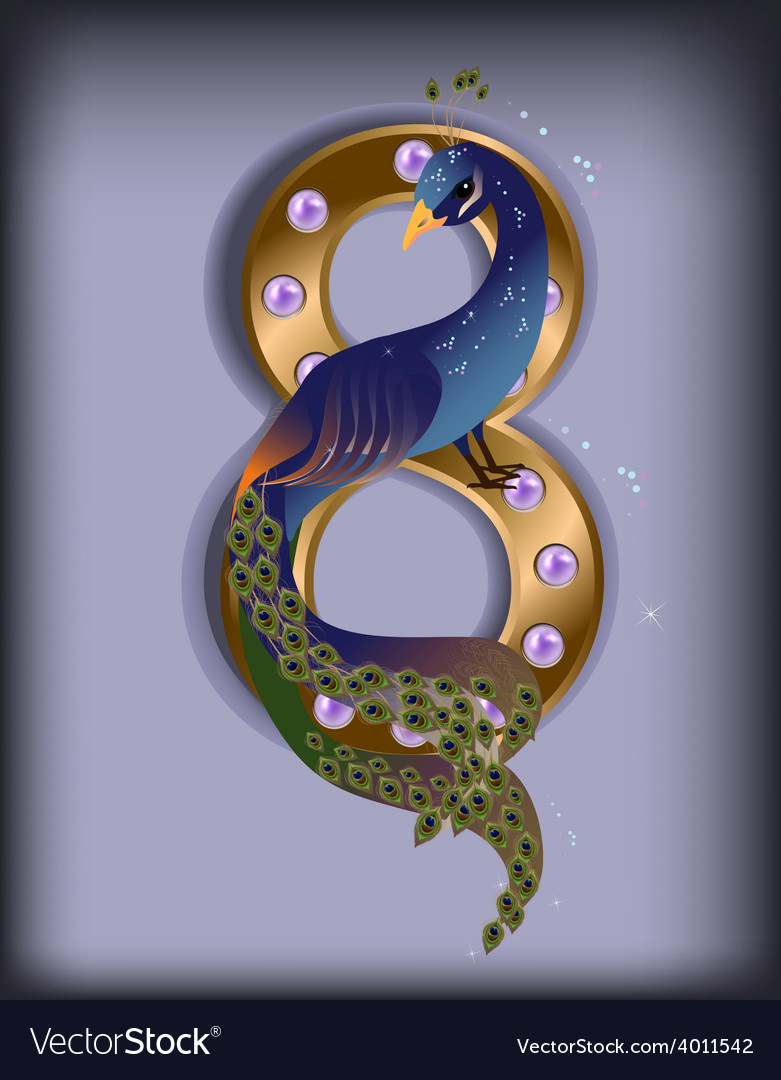 March 8 peacock blue vector | Price: 1 Credit (USD $1)