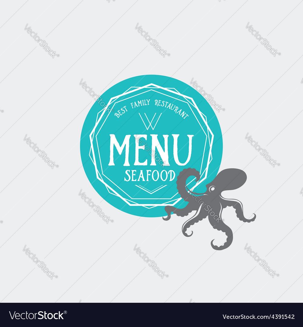Menu logo template vintage badge food design vector | Price: 1 Credit (USD $1)