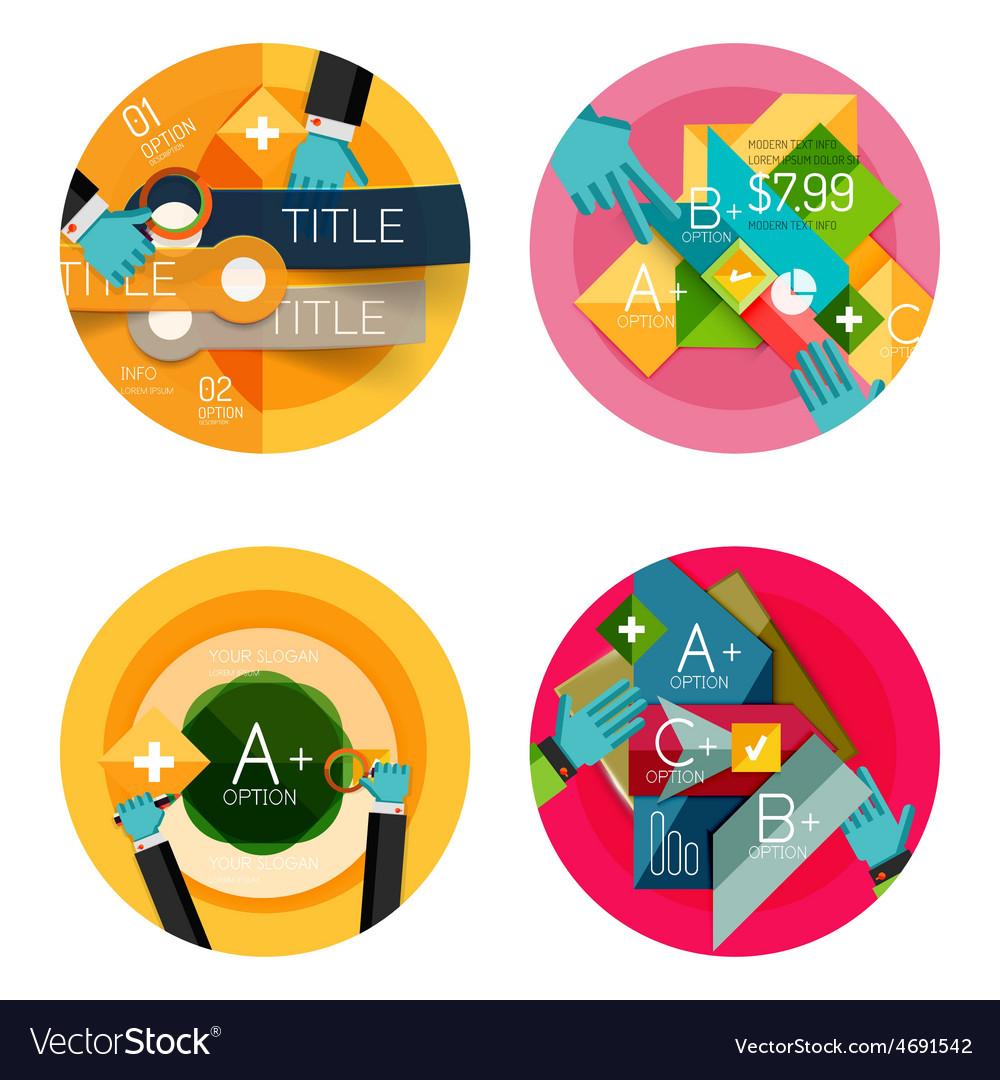 Set of flat design circle option infographics vector | Price: 1 Credit (USD $1)