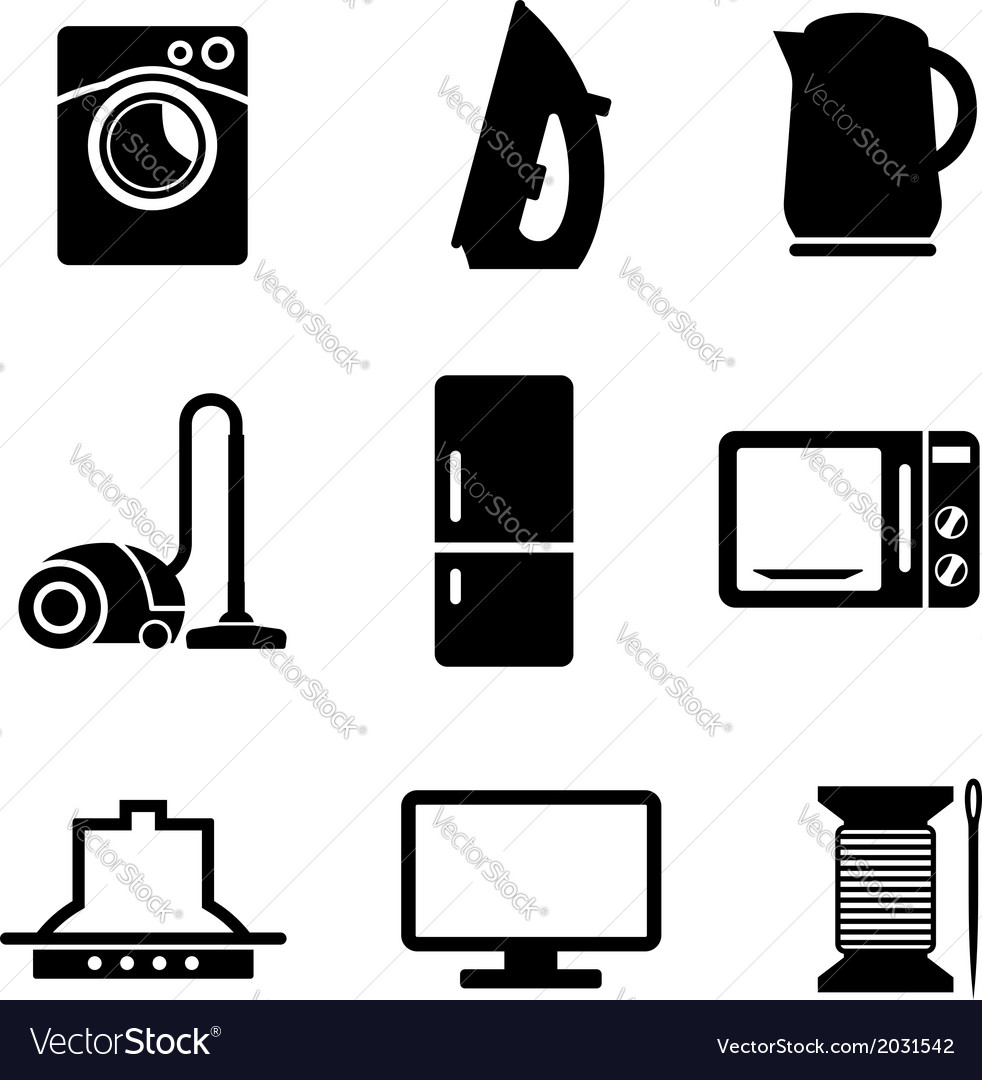Set of home appliances icons vector | Price: 1 Credit (USD $1)
