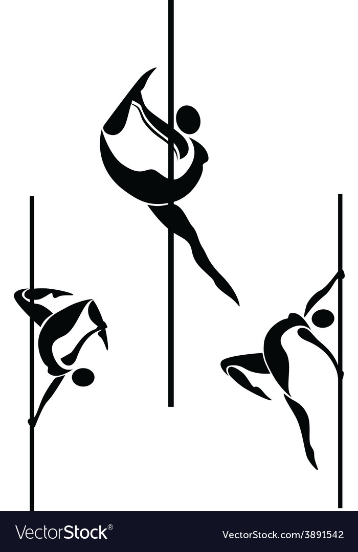 Stylized pole dancers vector | Price: 1 Credit (USD $1)
