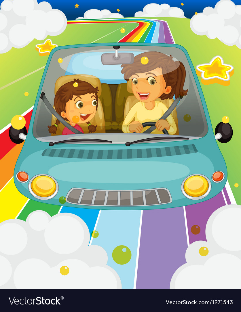 A mother driving with her daughter vector