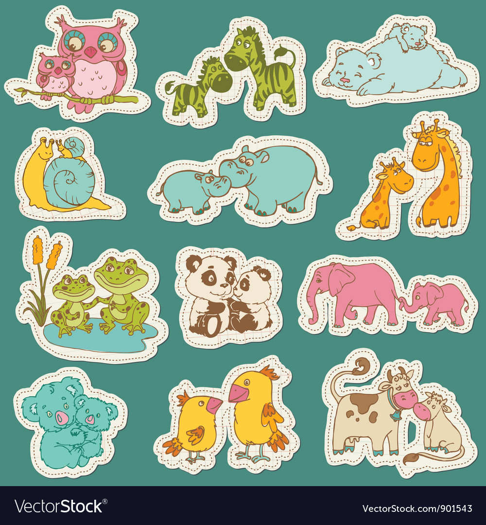 Baby and mommy animal set on paper tags vector | Price: 3 Credit (USD $3)