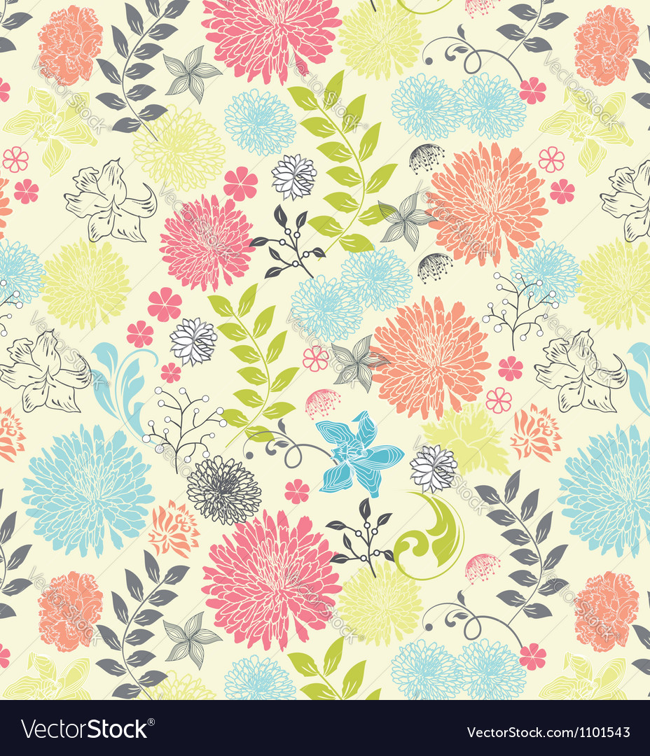 Beautiful a seamless pattern floral vector | Price: 1 Credit (USD $1)