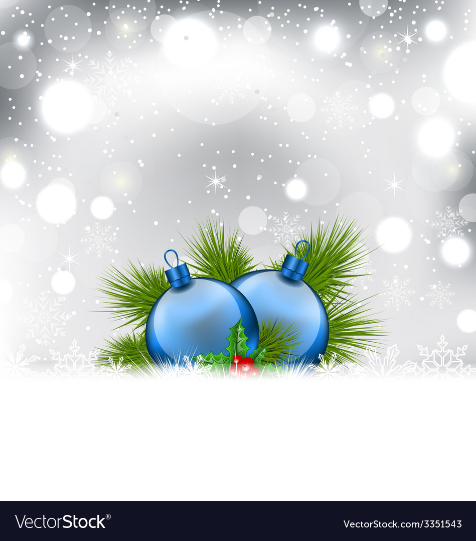 Christmas winter background with glass balls - vector | Price: 3 Credit (USD $3)