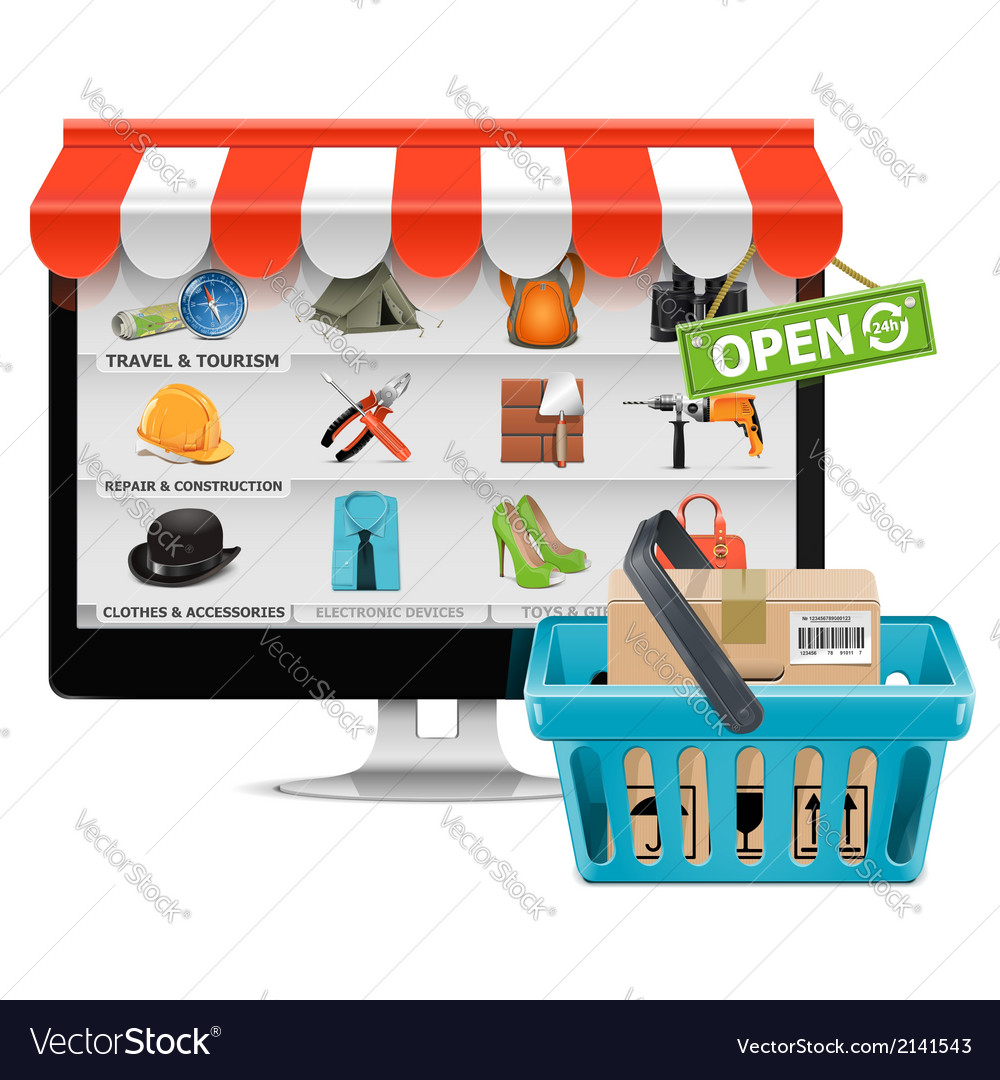 Computer shop with basket vector | Price: 3 Credit (USD $3)