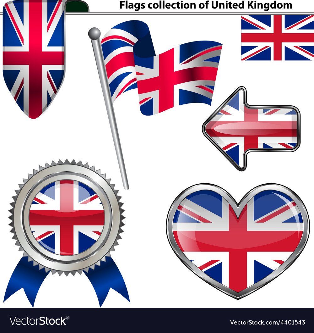 Glossy icons with united kingdom flag vector | Price: 3 Credit (USD $3)