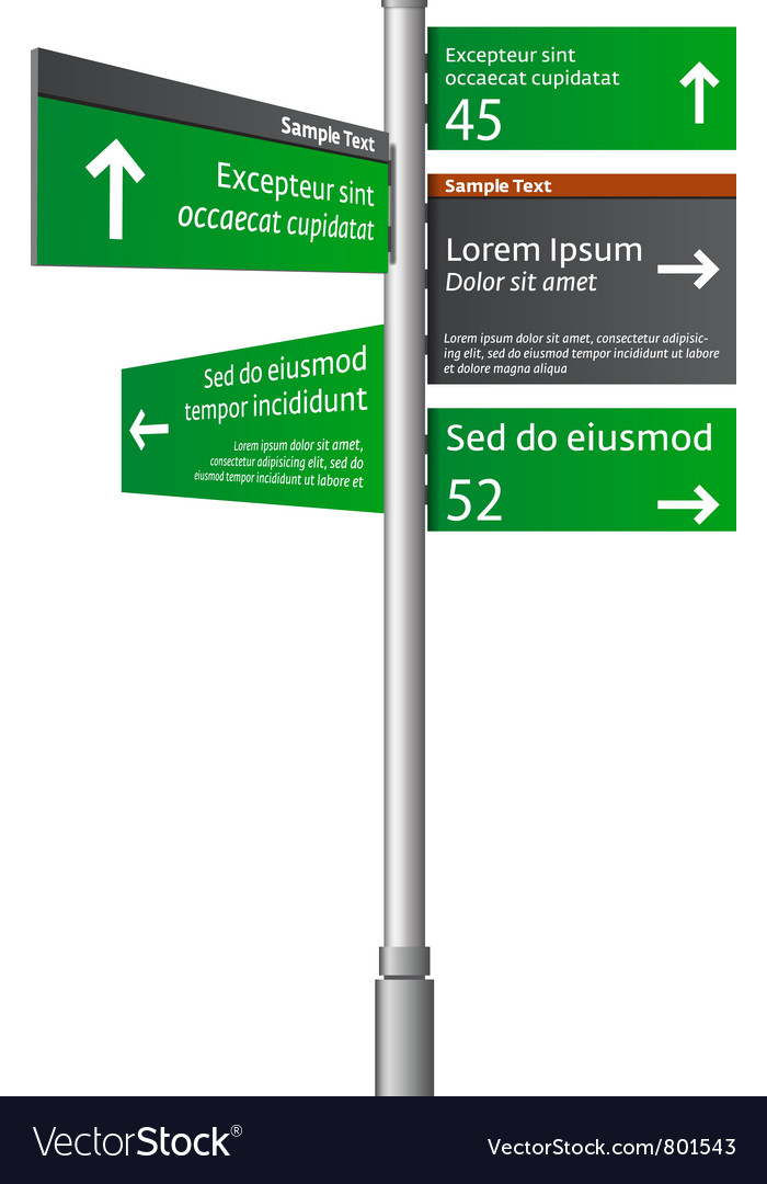 Road signs with arrows vector | Price: 1 Credit (USD $1)