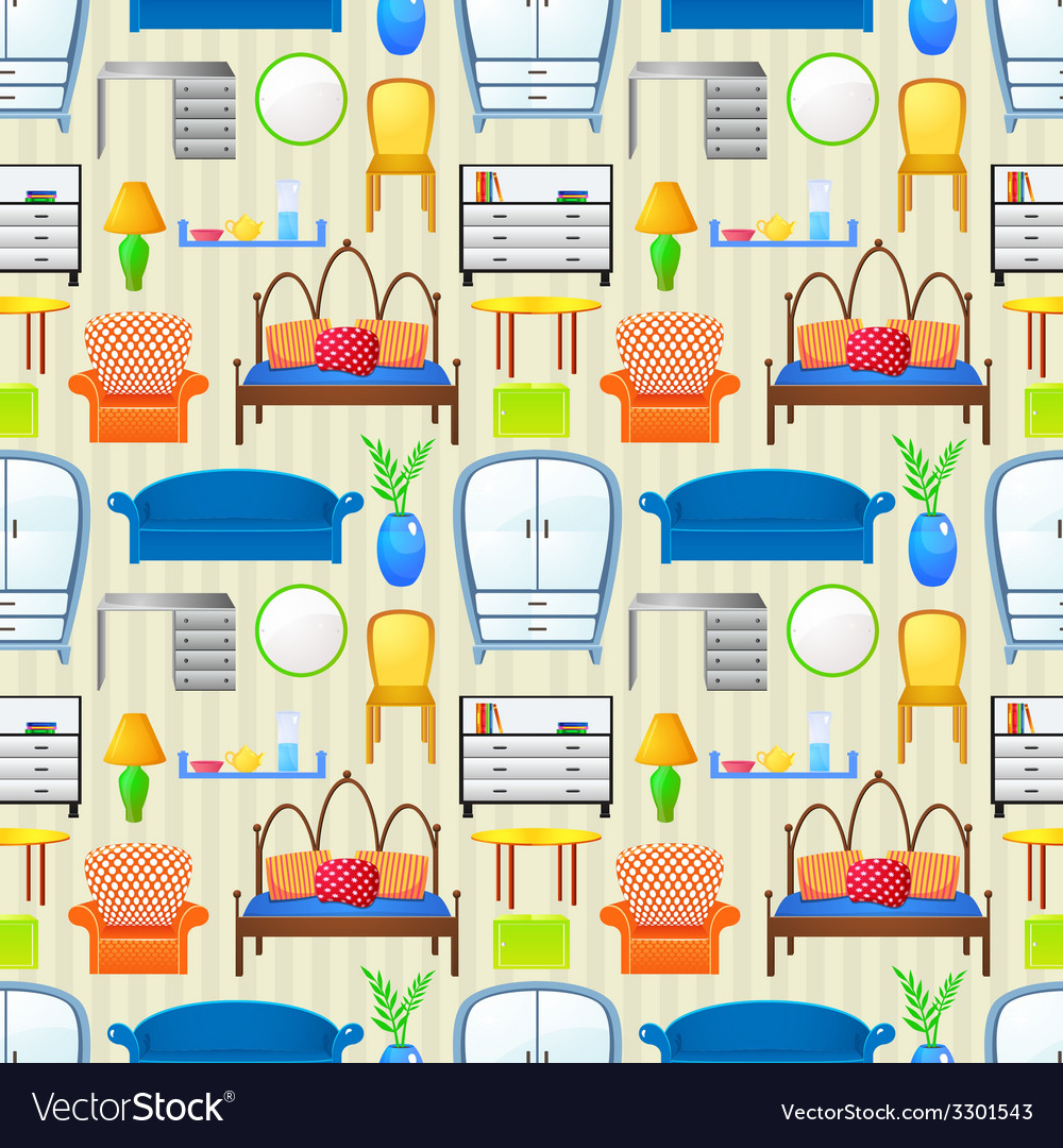 Seamless pattern with elements furniture vector | Price: 1 Credit (USD $1)