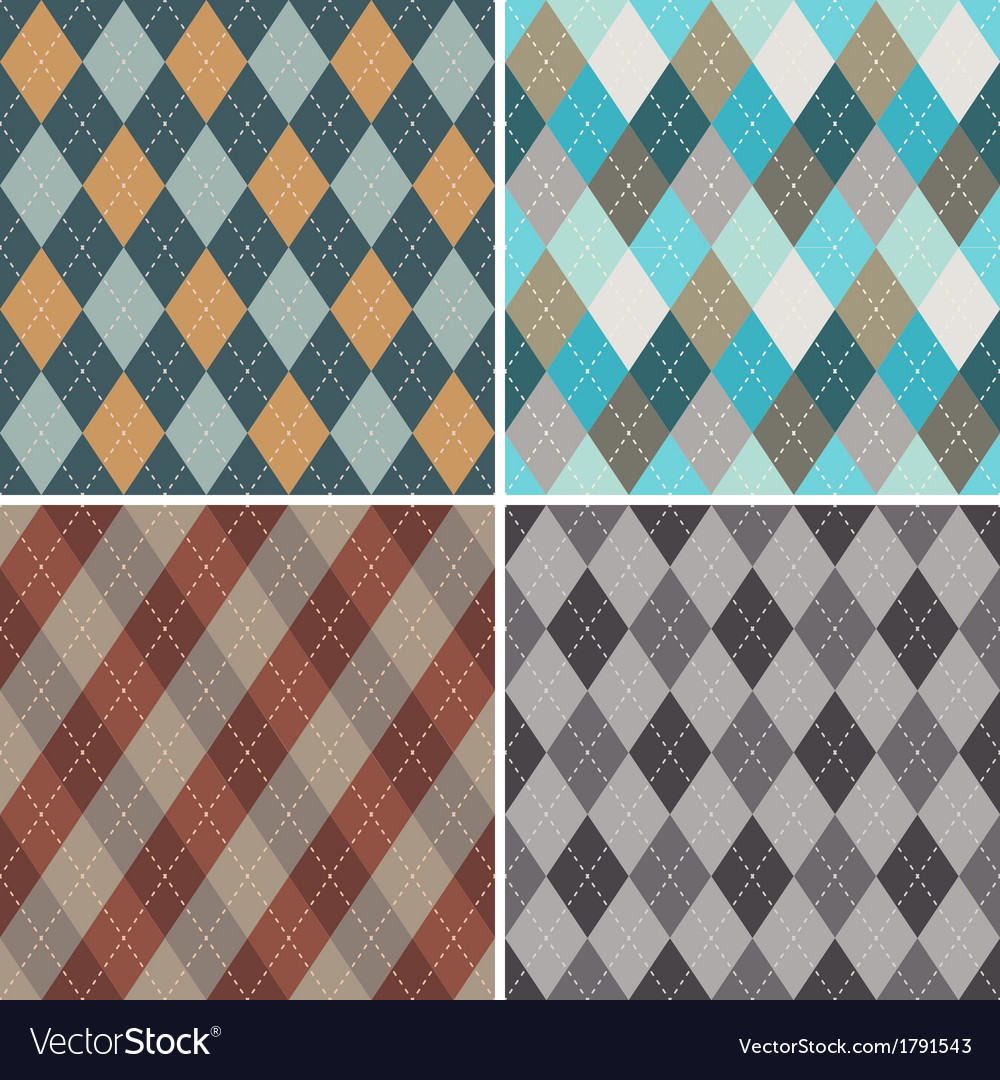 Set of seamless argyle patterns vector | Price: 1 Credit (USD $1)