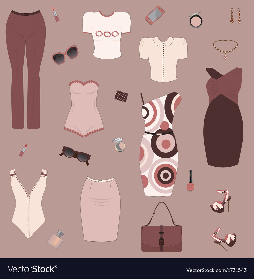 Set of women clothes and accesories vector | Price: 1 Credit (USD $1)