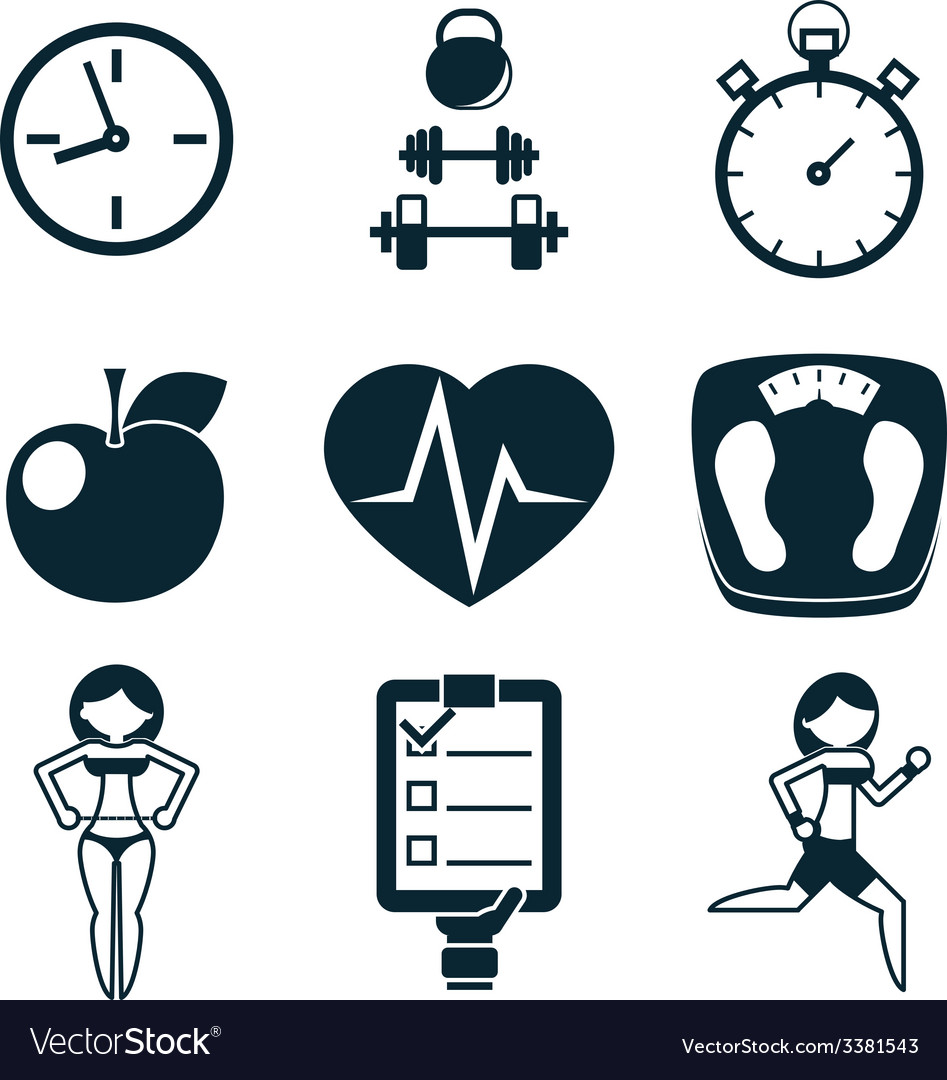 Sport fitness and health isolated icons set vector | Price: 1 Credit (USD $1)