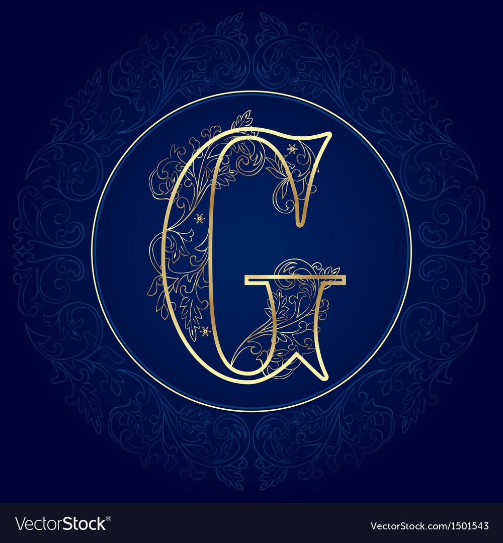 Vintage floral alphabet letter g vector | Price: 1 Credit (USD $1)