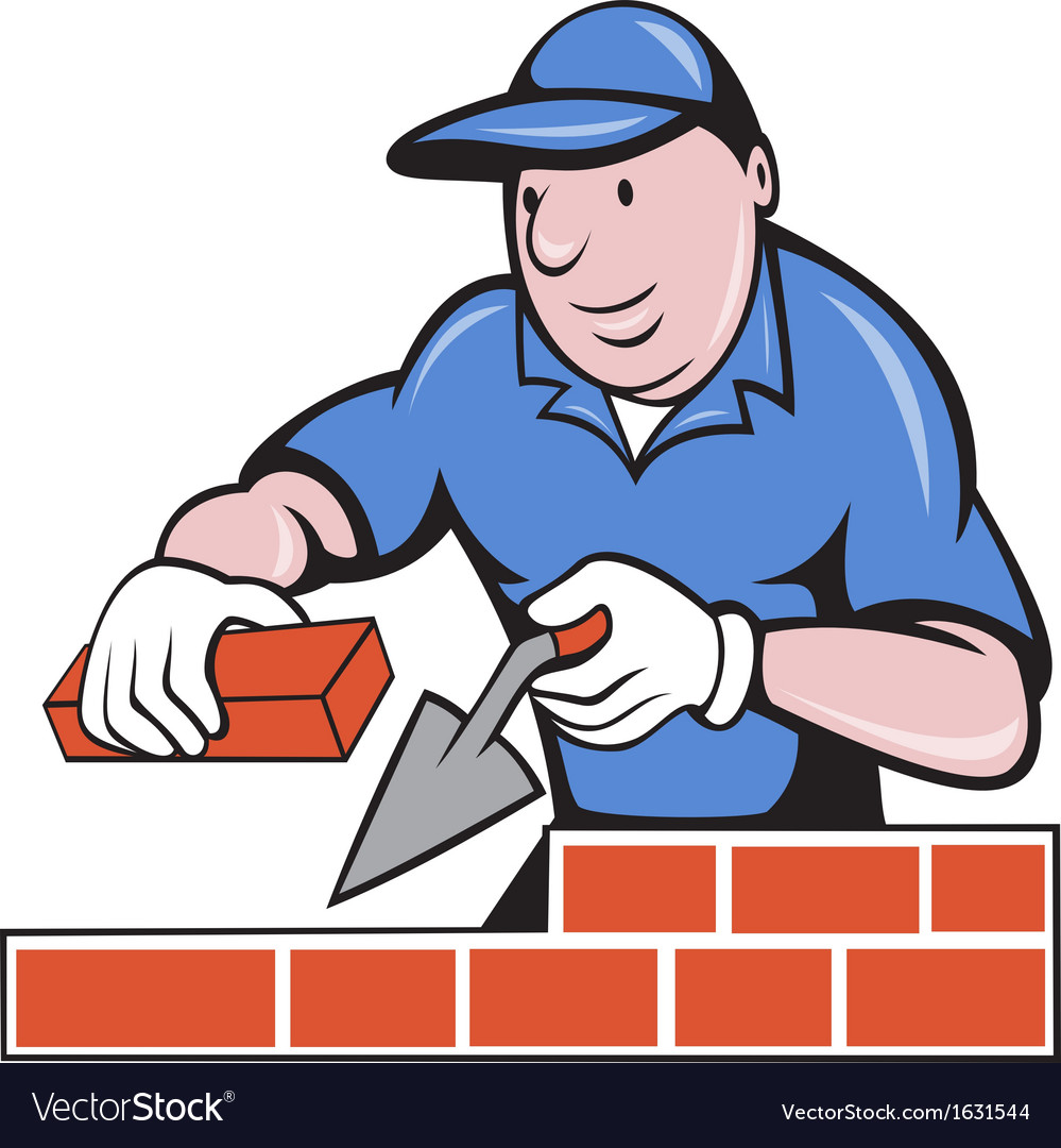 Bricklayer mason at work vector | Price: 1 Credit (USD $1)