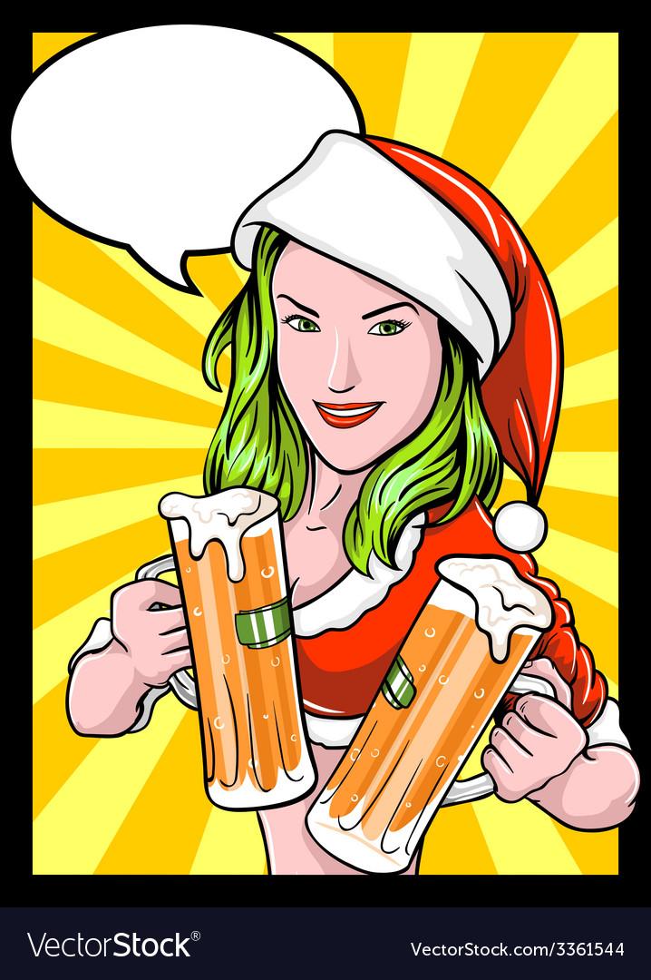 Christmas beer girl comics vector | Price: 3 Credit (USD $3)