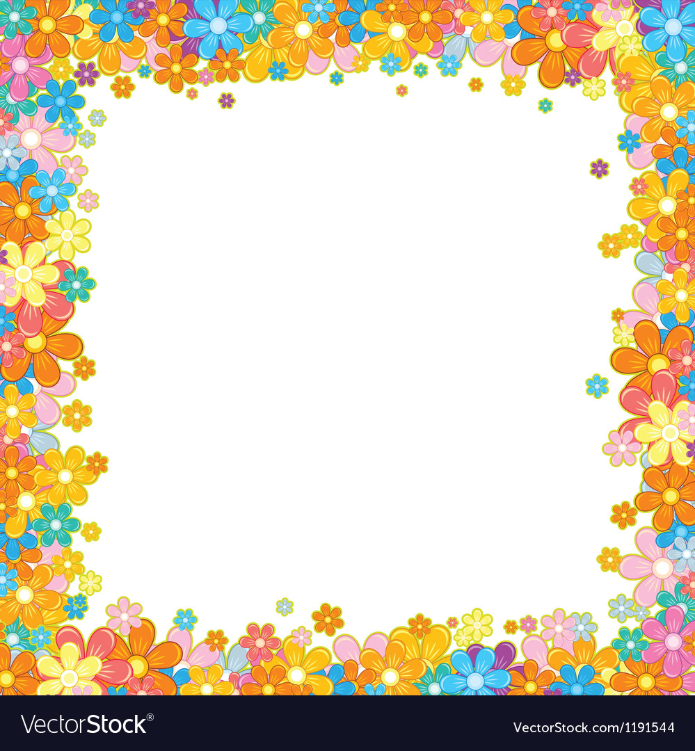 Colorful floral frame flower garland on white vector | Price: 1 Credit (USD $1)