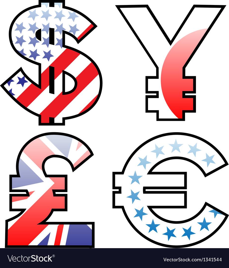 Currencies signs vector | Price: 1 Credit (USD $1)