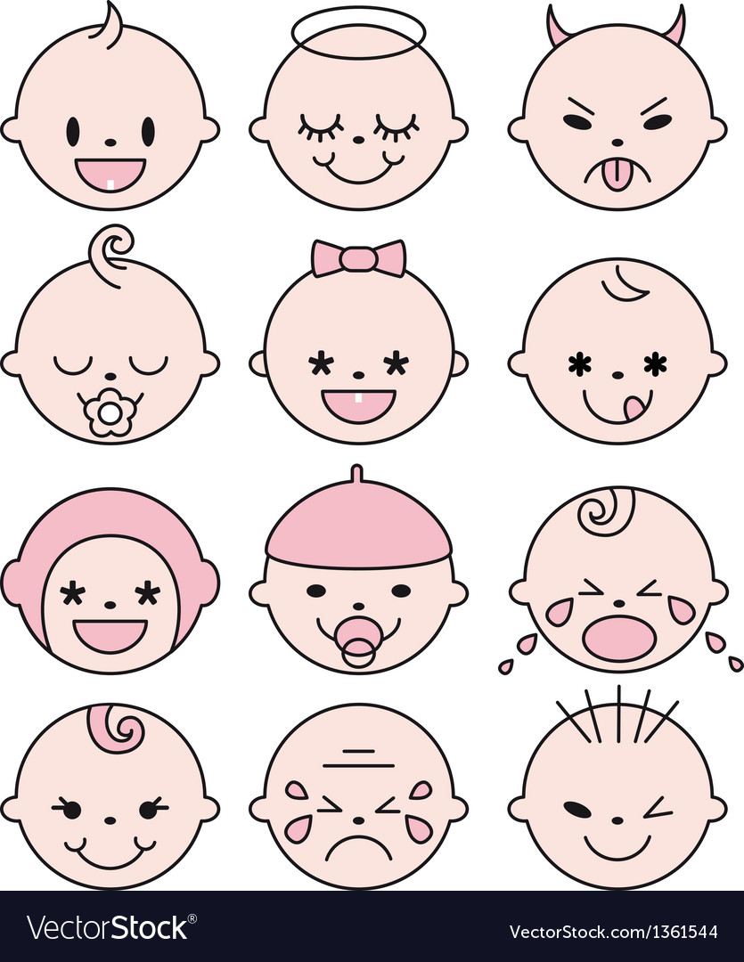 Cute baby faces vector | Price: 1 Credit (USD $1)