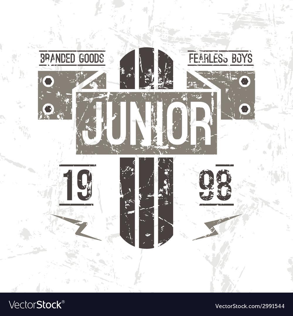 Emblem racing junior in retro style vector | Price: 1 Credit (USD $1)