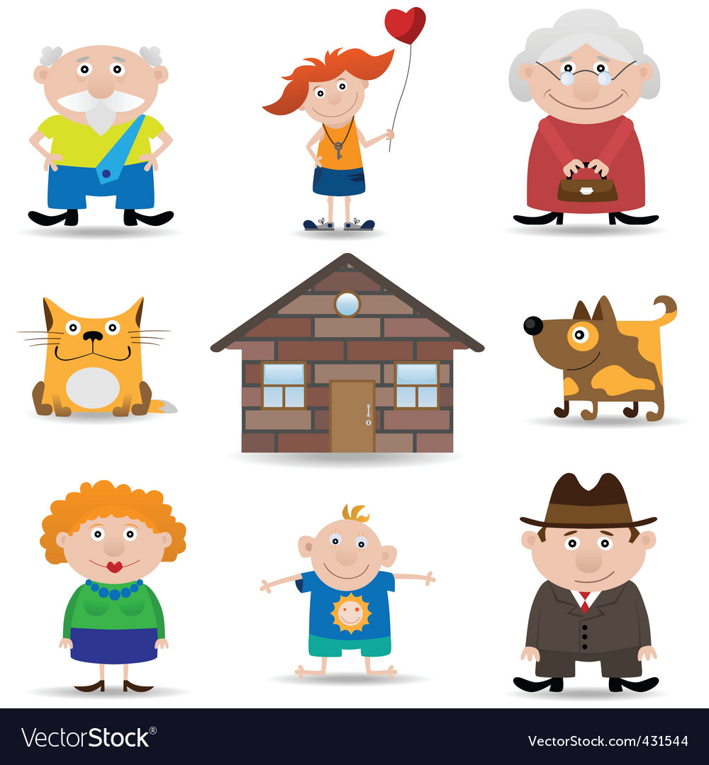 Family icon set vector | Price: 1 Credit (USD $1)