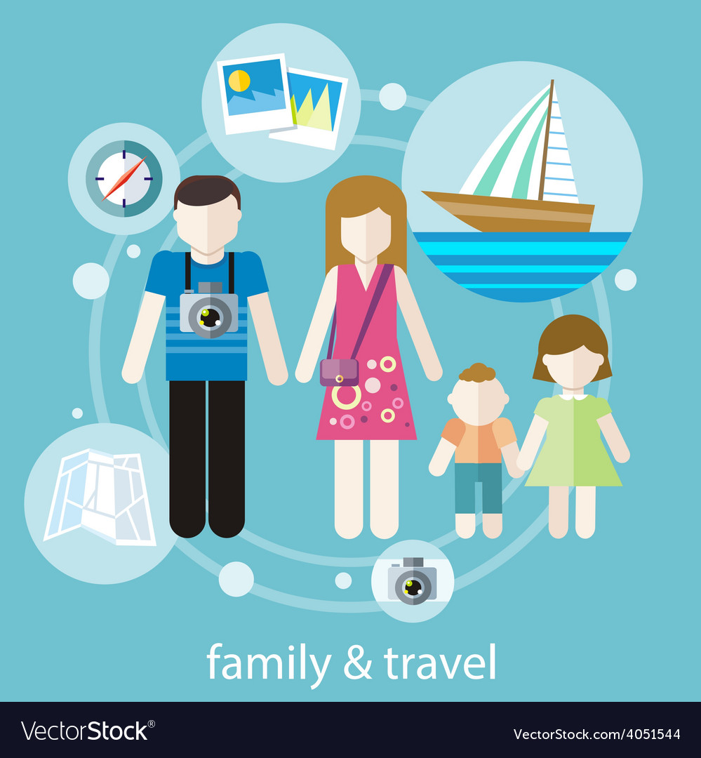 Happy family trip traveling vector | Price: 1 Credit (USD $1)