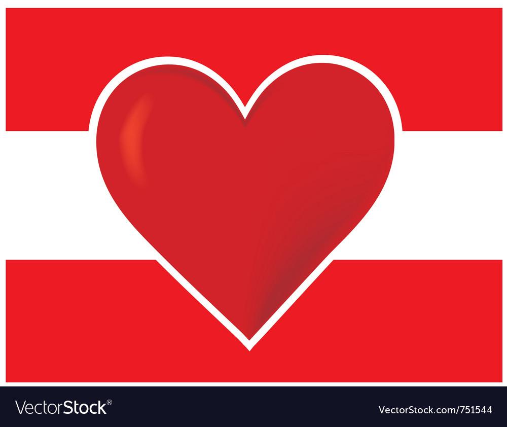 Heart austria flagred heart vector | Price: 1 Credit (USD $1)