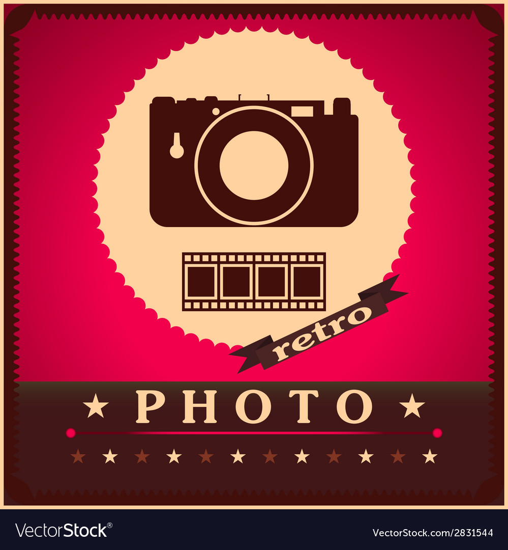 Photography camera and film retro poster vector | Price: 1 Credit (USD $1)