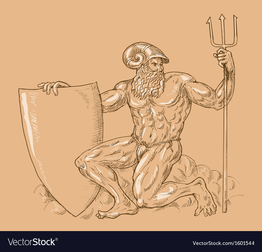 Roman god neptune or poseidon with trident and vector | Price: 1 Credit (USD $1)