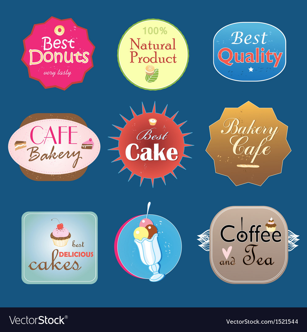 Set of vintage label design bakery vector | Price: 1 Credit (USD $1)