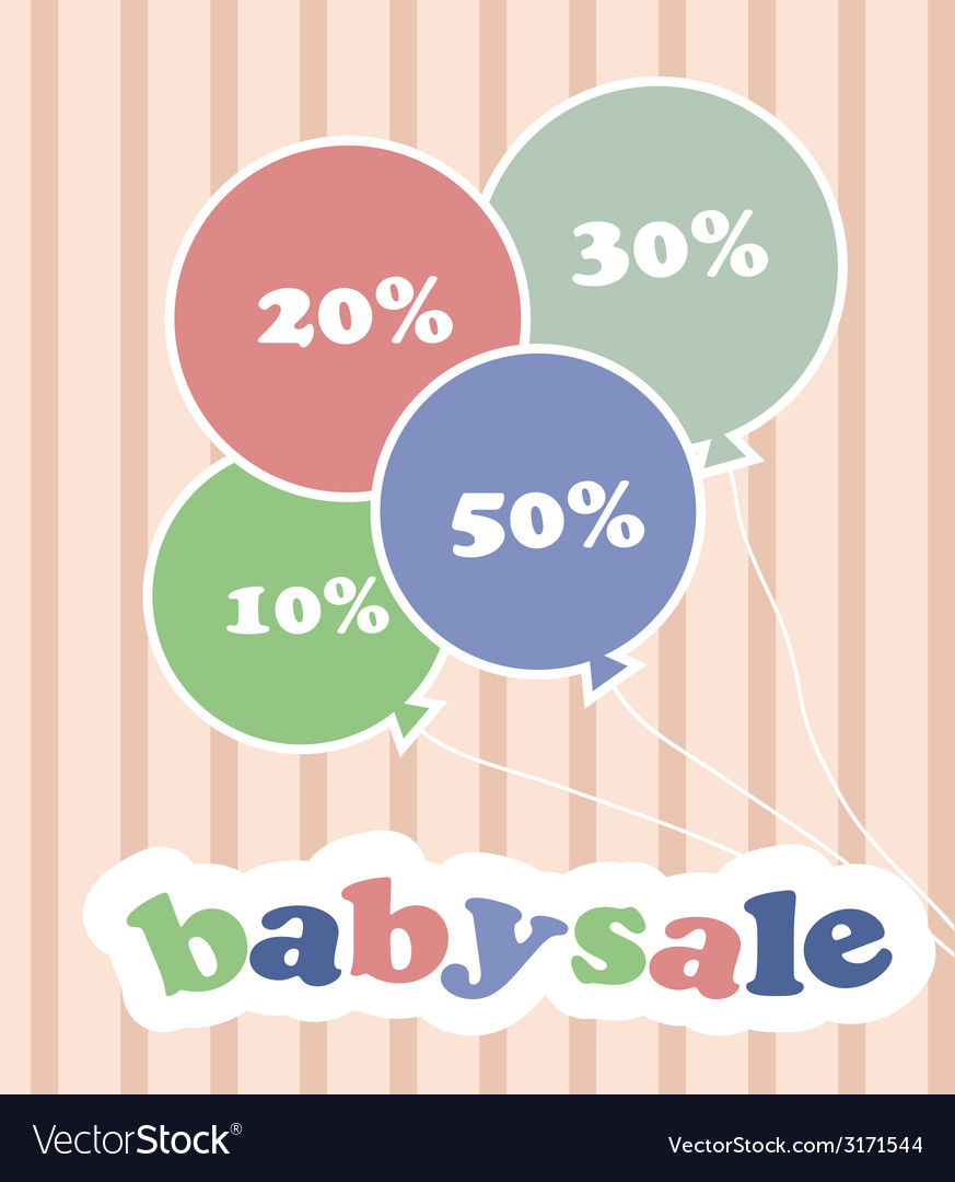 Trendy colorful baloons with discounts for baby vector | Price: 1 Credit (USD $1)