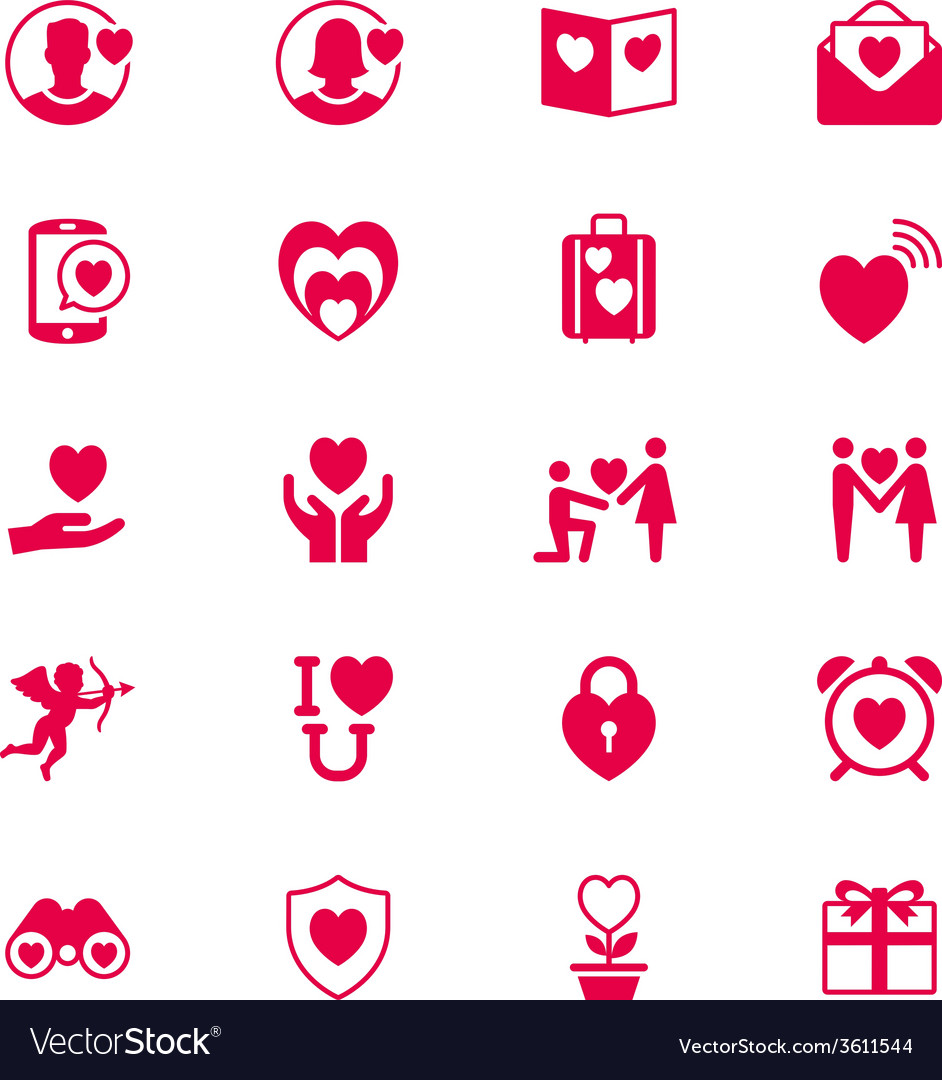 Valentines day flat icons vector | Price: 1 Credit (USD $1)