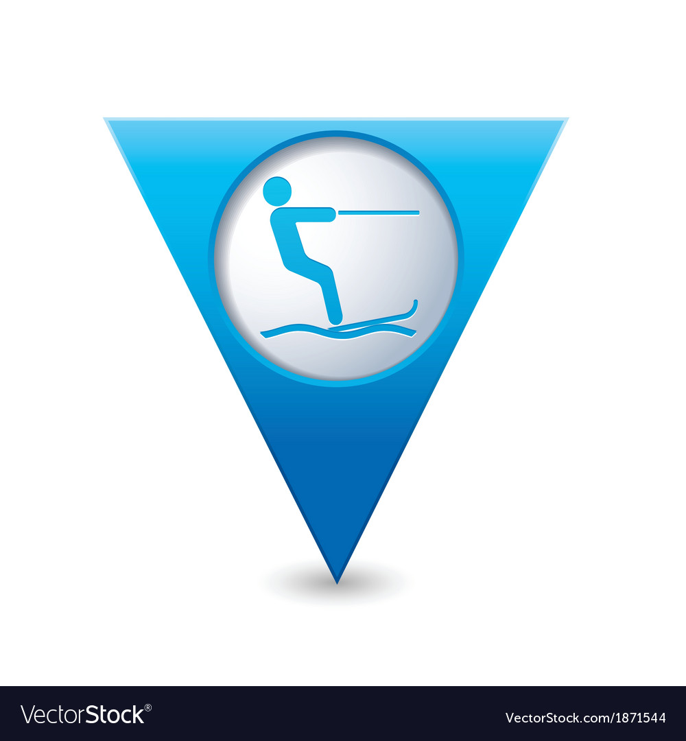 Waterskiing symbol pointer blue vector | Price: 1 Credit (USD $1)