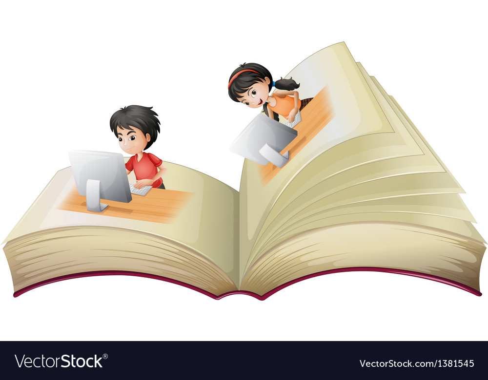 An open book with a girl and a boy with computers vector | Price: 1 Credit (USD $1)