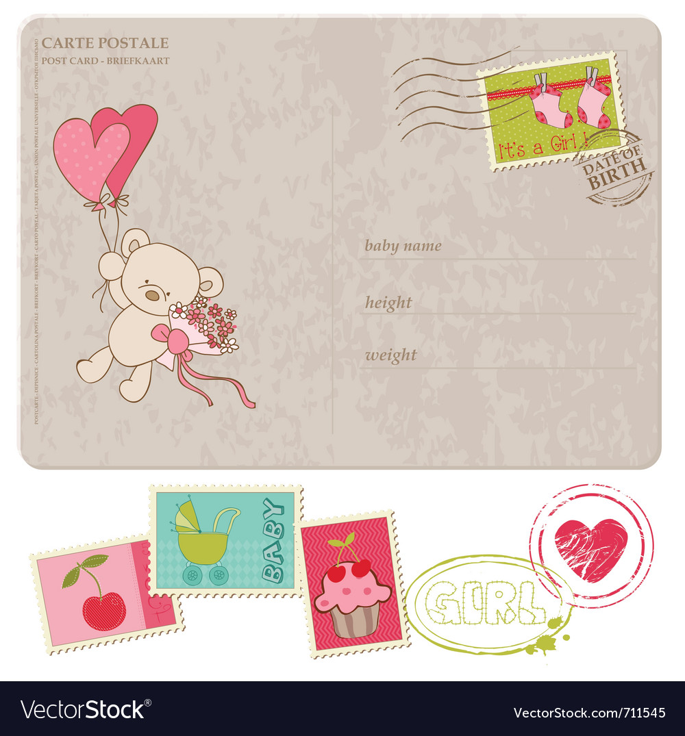 Baby girl greeting postcard with set of stamps vector   Price: 1 Credit (USD $1)