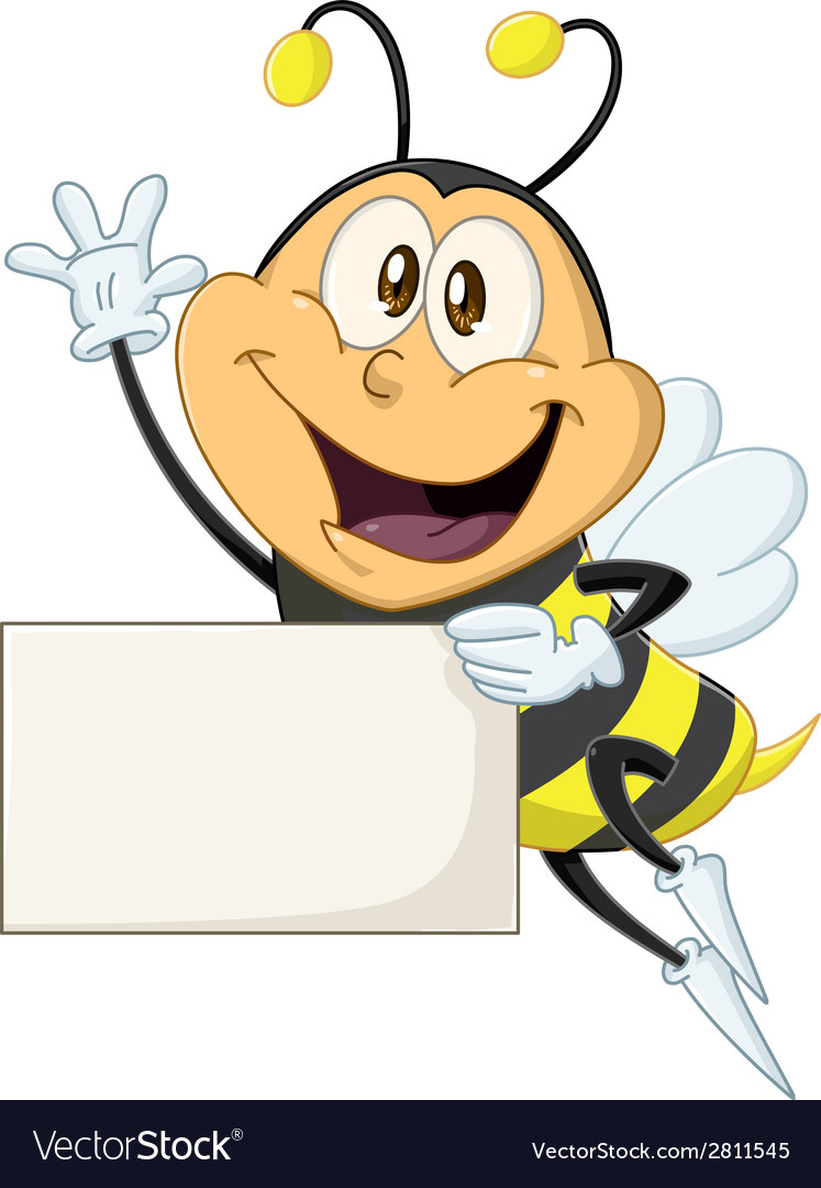 Bee holds sign and waves hello vector | Price: 3 Credit (USD $3)
