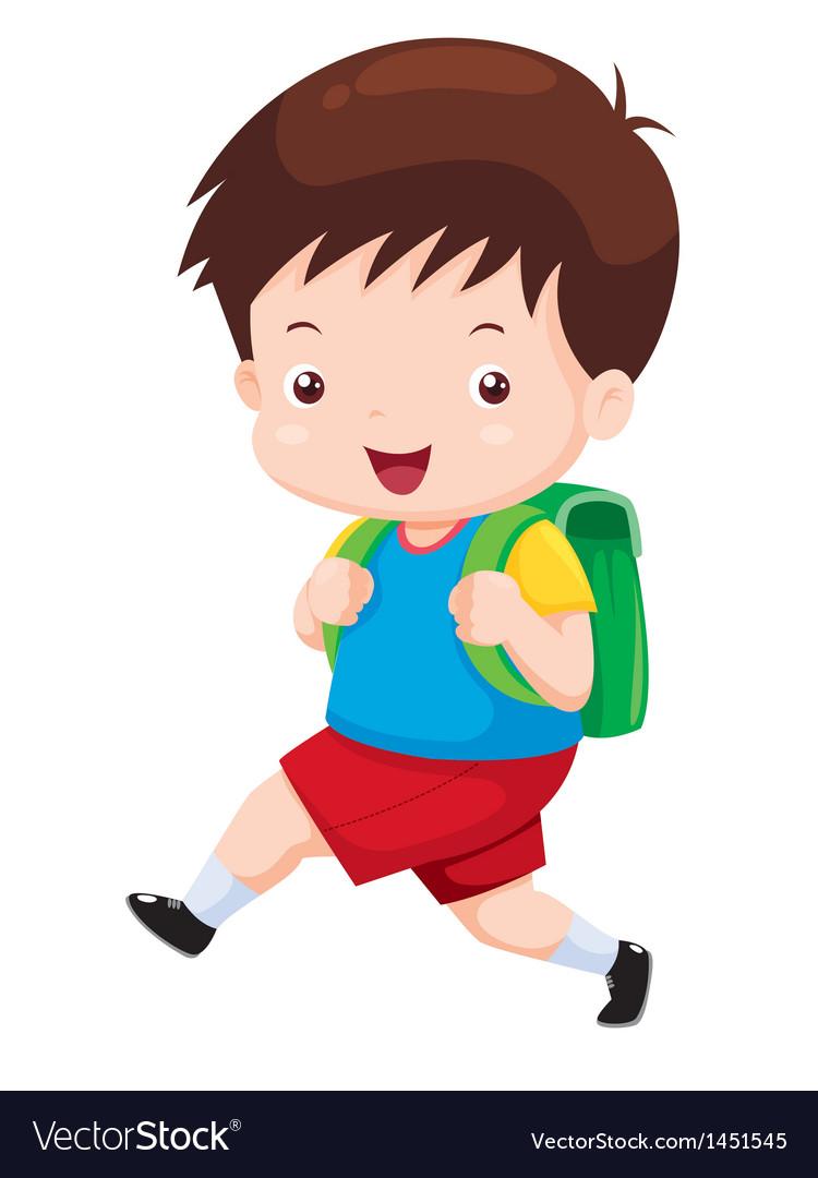 Cute boy go to school vector | Price: 1 Credit (USD $1)