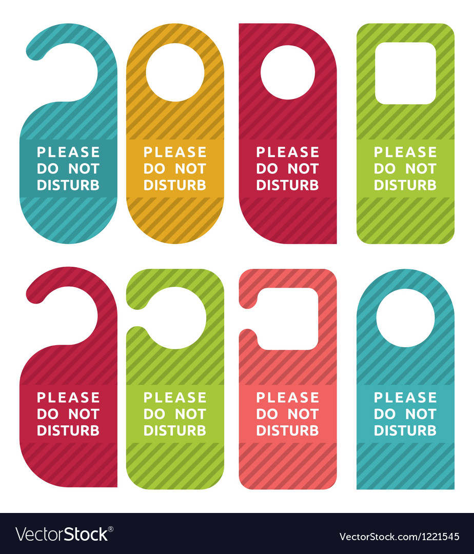 Do not disturb door hanger set vector | Price: 1 Credit (USD $1)