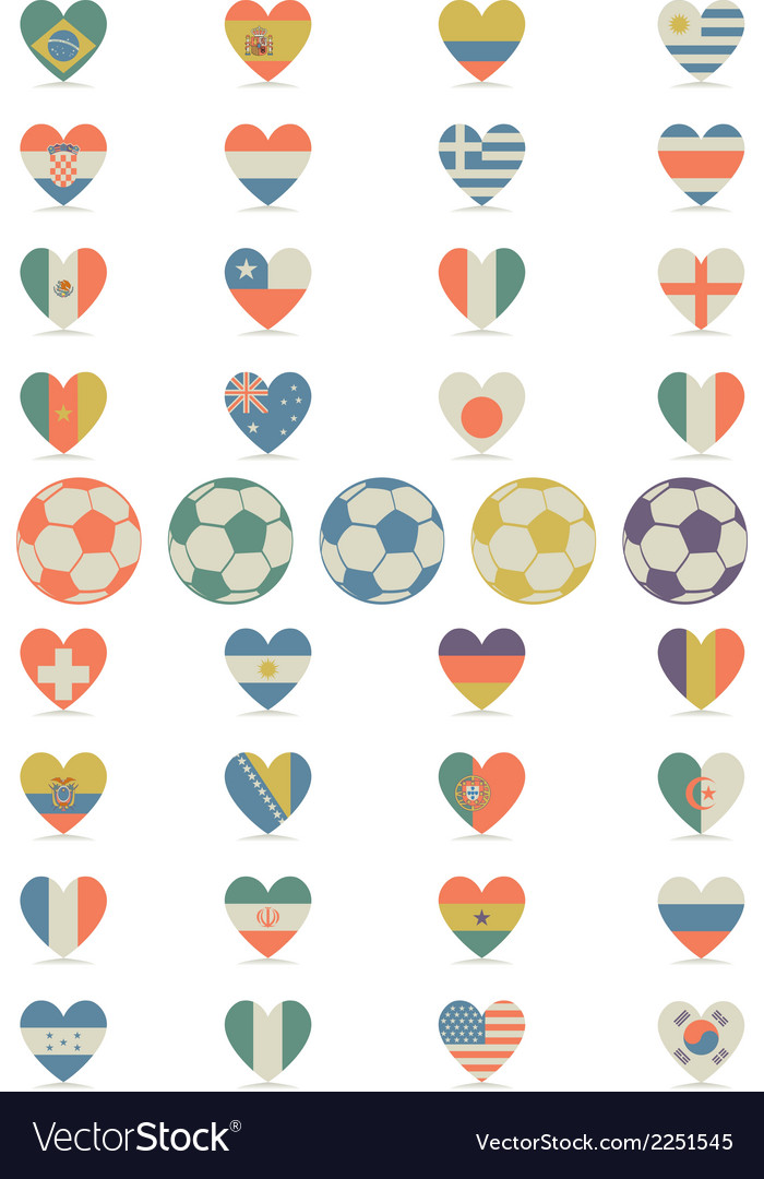 Flat flags heart vector | Price: 1 Credit (USD $1)