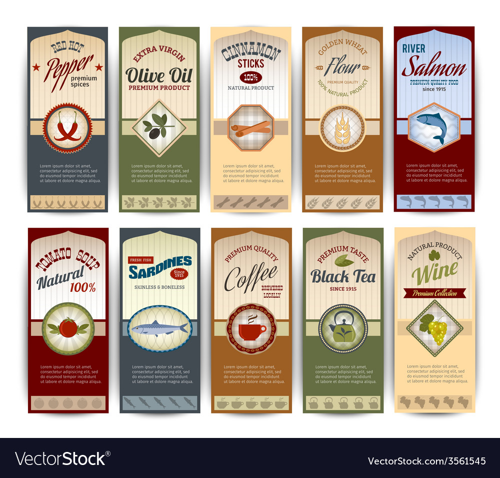 Food retro banners vector | Price: 1 Credit (USD $1)