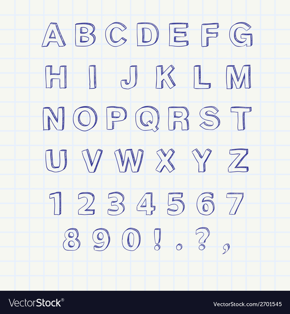 Hand drawn sketch alphabet handwritten font vector | Price: 1 Credit (USD $1)
