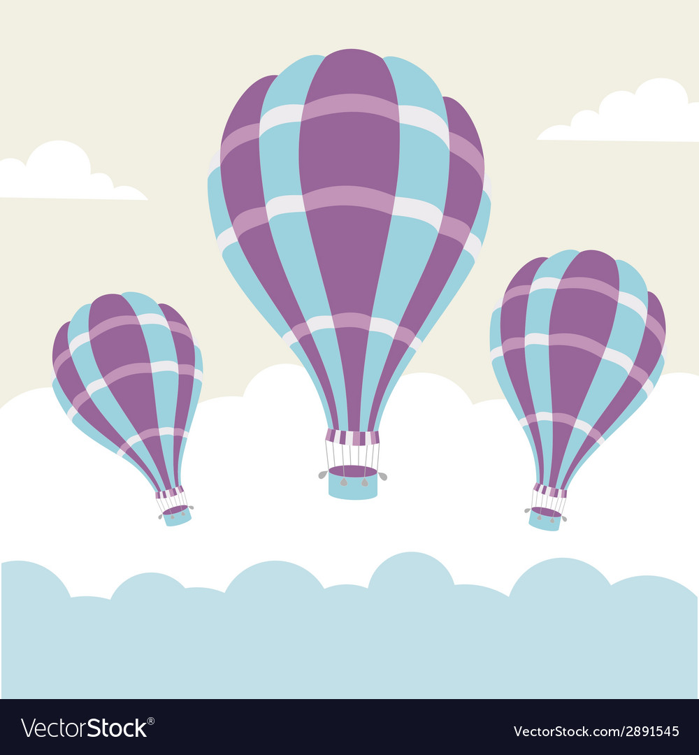 Hot air balloons on the sky vector | Price: 1 Credit (USD $1)