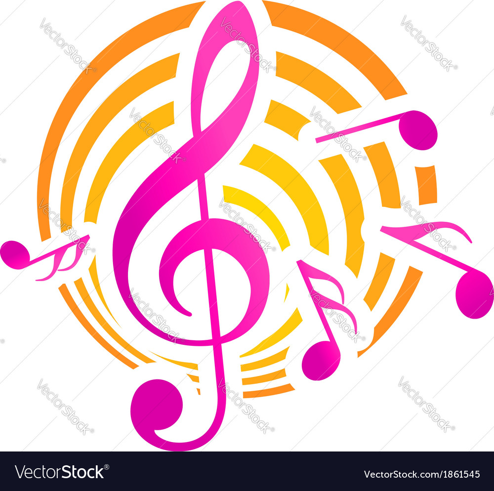 Music themed motif in yellow and pink vector | Price: 1 Credit (USD $1)