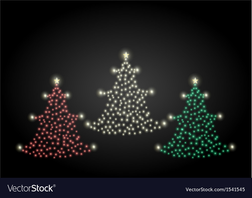 Red gold and green christmas trees vector | Price: 1 Credit (USD $1)