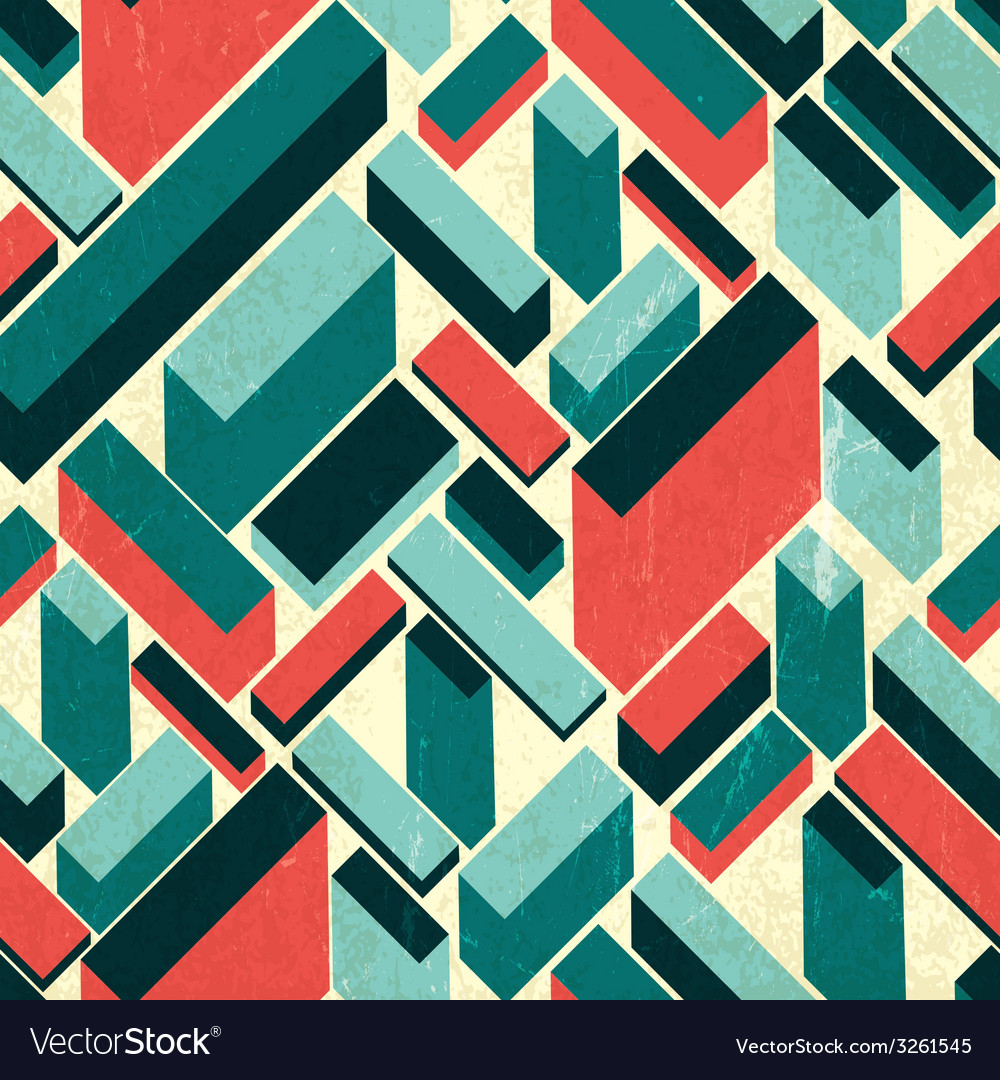 Seamless retro buildings pattern vector | Price: 1 Credit (USD $1)