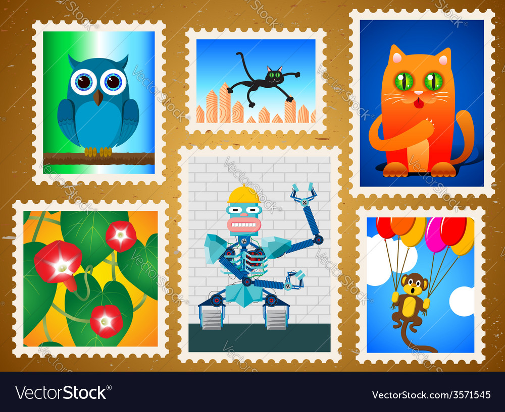 Set of colorful postage stamps vector | Price: 1 Credit (USD $1)