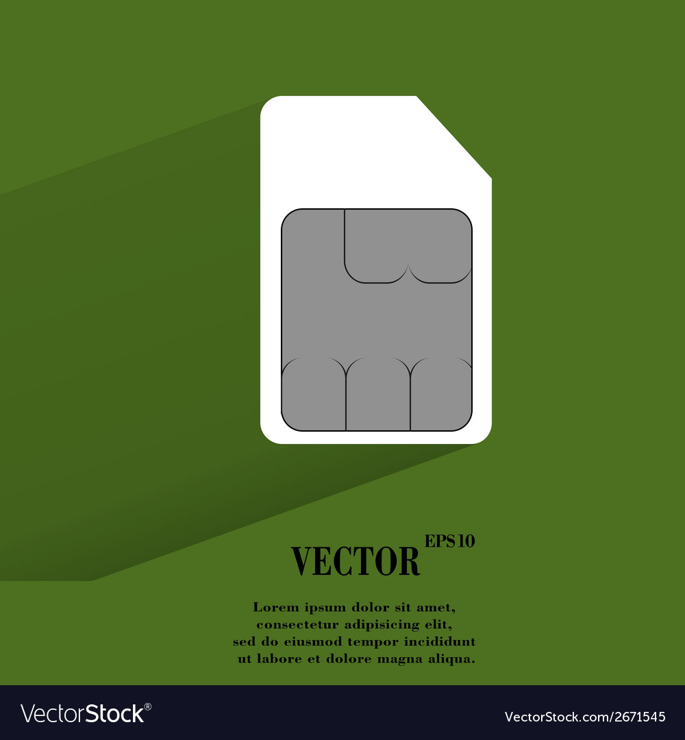 Sim card flat modern web button with long shadow vector | Price: 1 Credit (USD $1)