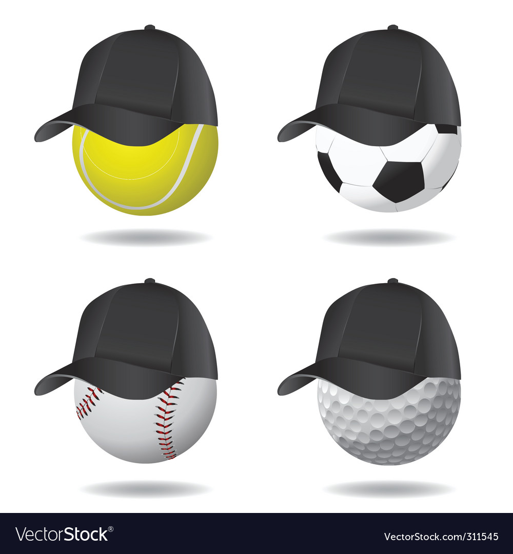 Sport ball with hat vector | Price: 1 Credit (USD $1)