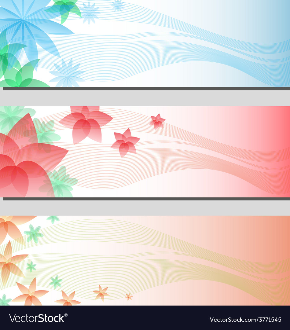 Three types of floral colorful banner cards eps10 vector | Price: 1 Credit (USD $1)