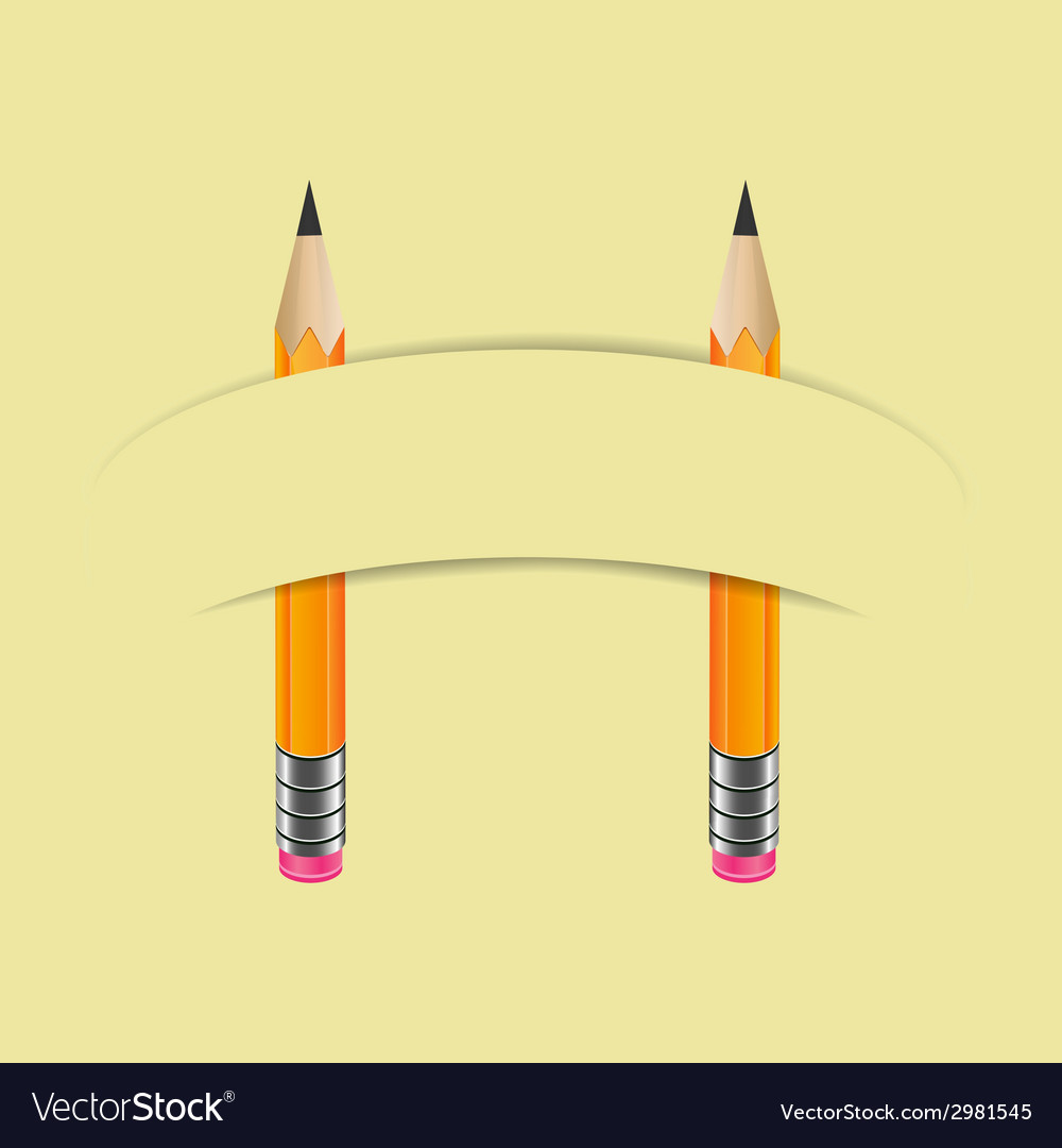 Two graphite pencils and paper banner vector | Price: 1 Credit (USD $1)