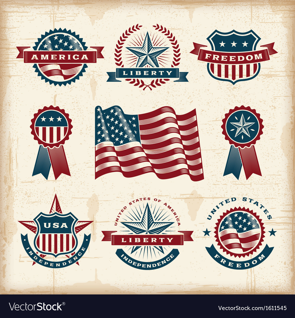 Vintage american labels set vector | Price: 1 Credit (USD $1)